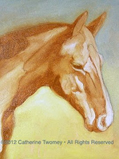 Step in the oil painting of Wickers the Warmblood with all colors established