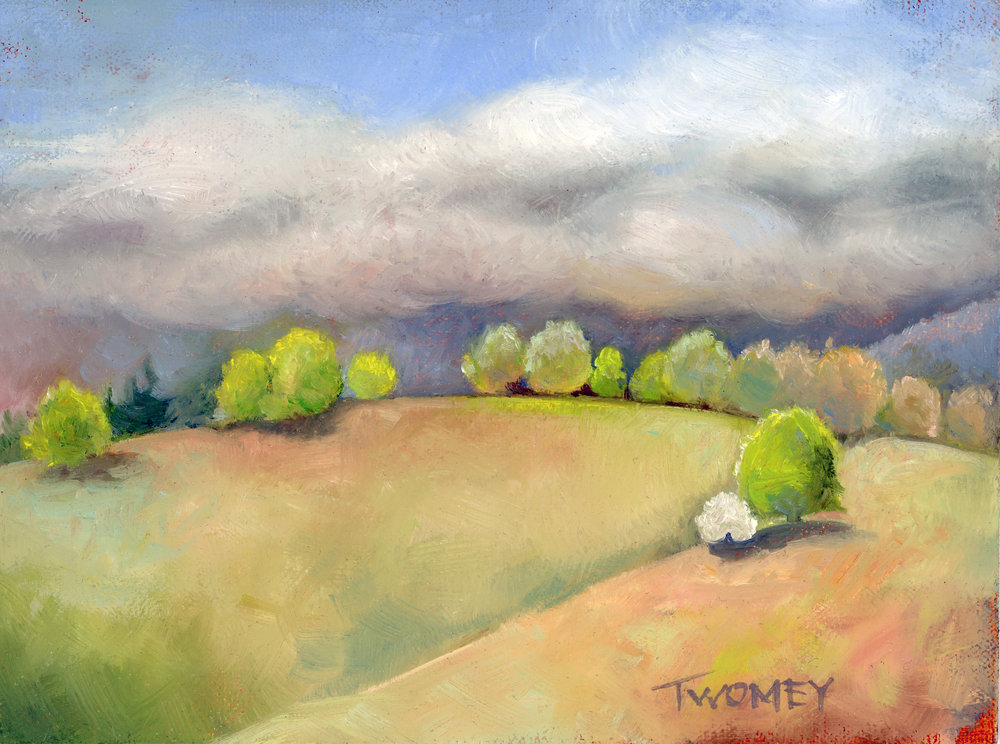 "Sun Break Hilll, 6 X 8"" on archival linen board, by C. Twomey"