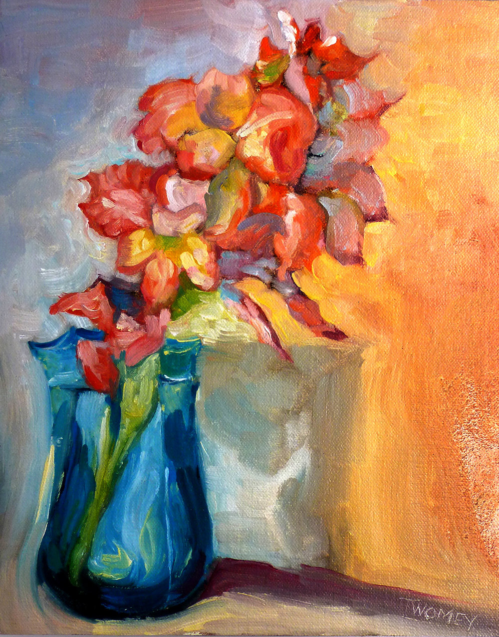 """Liquid Gladiolus 3.0: Peach, Yellow and Pink,"" C. Twomey"