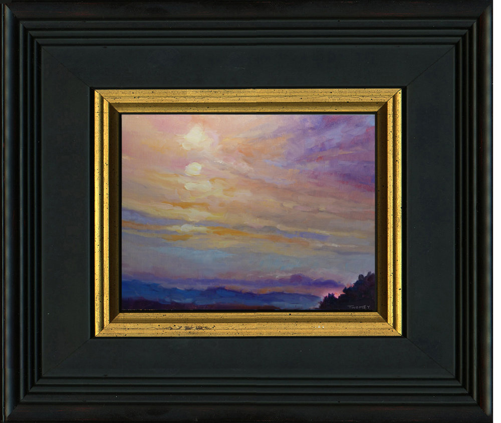 """Blue Ridge Mountains Sunset 1.2"" sample of framed oil"