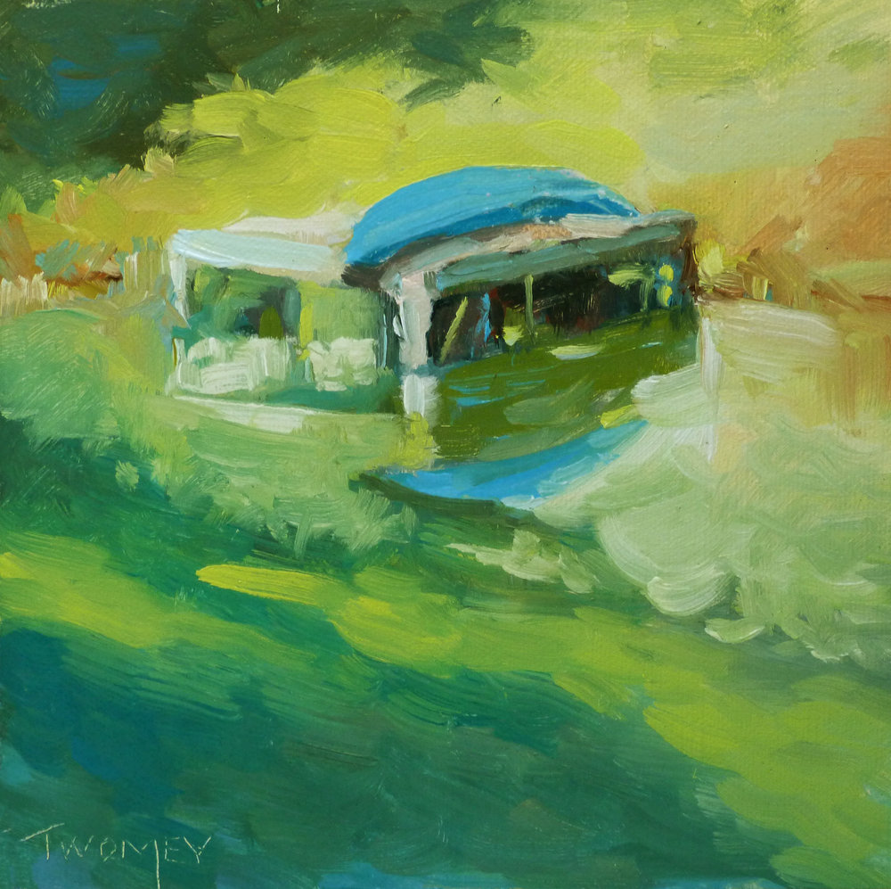 """Boat Dock 3"" by Catherine Twomey, 6 X 6"" oil"