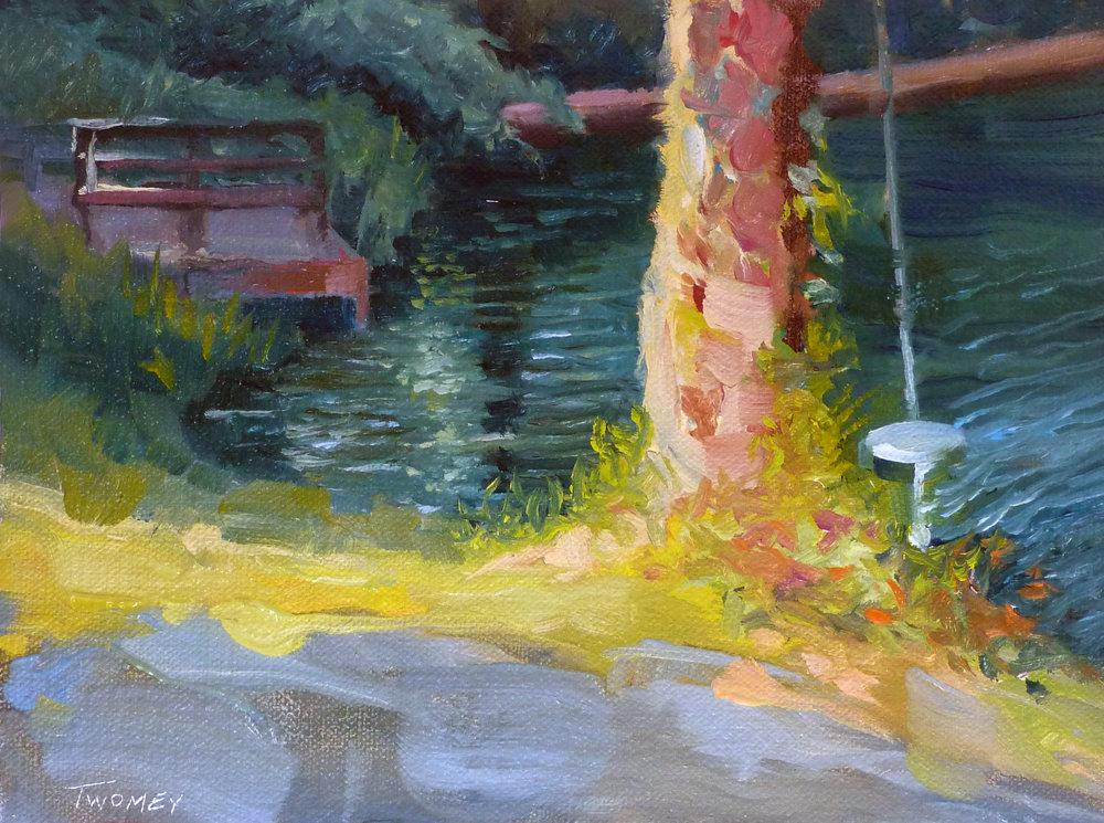 """Lake Summer Swing"" 6 X 8"" oil on archival board, Catherine Twomey"