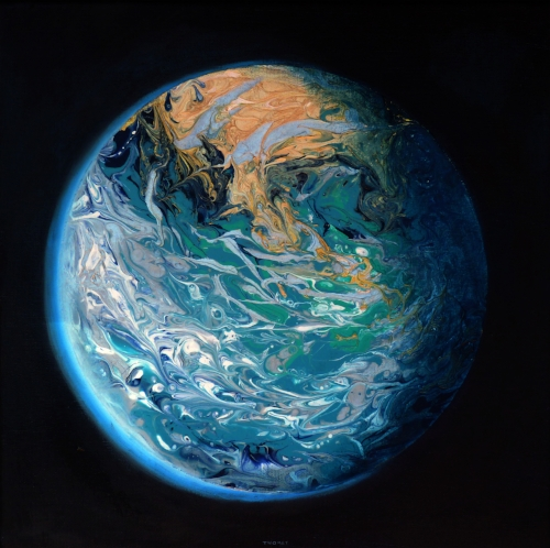 """Manifesto: Blue Marble Earth"", 12X12"", for sale"