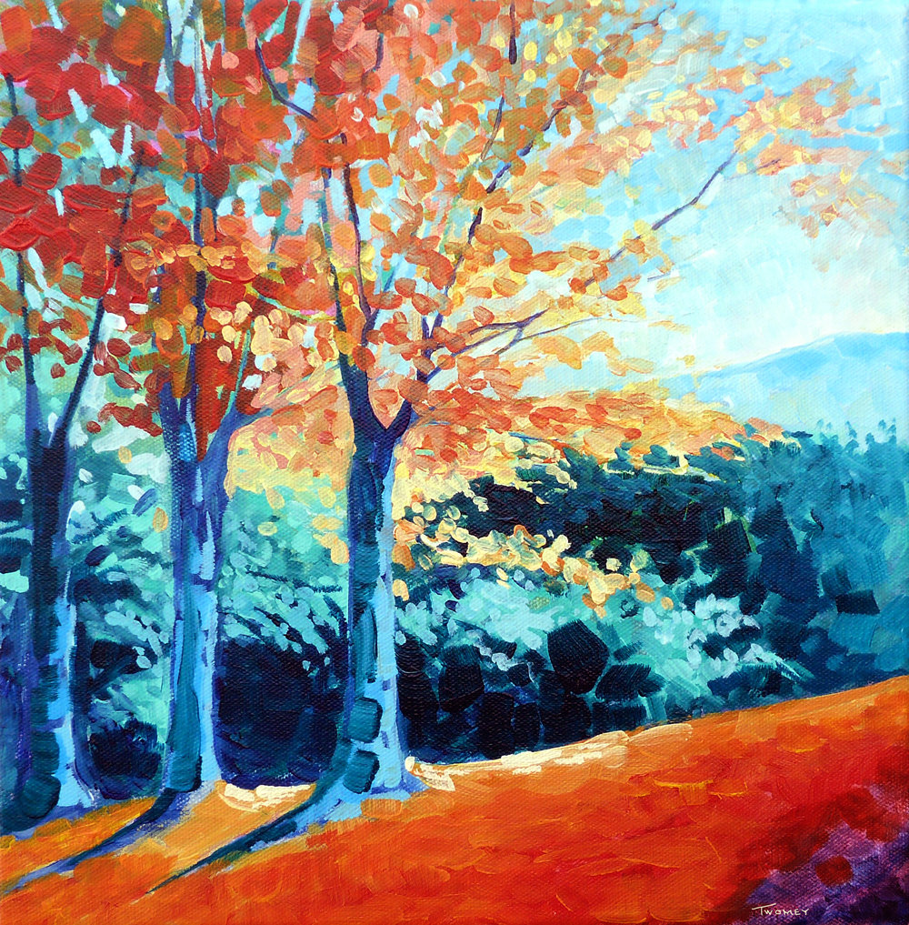 "Saw Mill Hill Road, Vermont Autumn"", 12X12"",  acrylic"