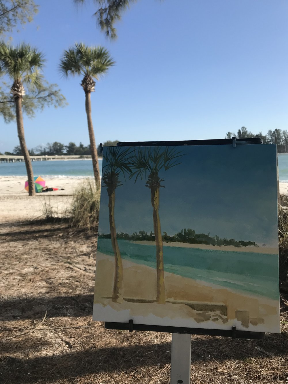 "12X12"", mixed media, painting live at Coquina Beach, Anna Marie Island, Florida"