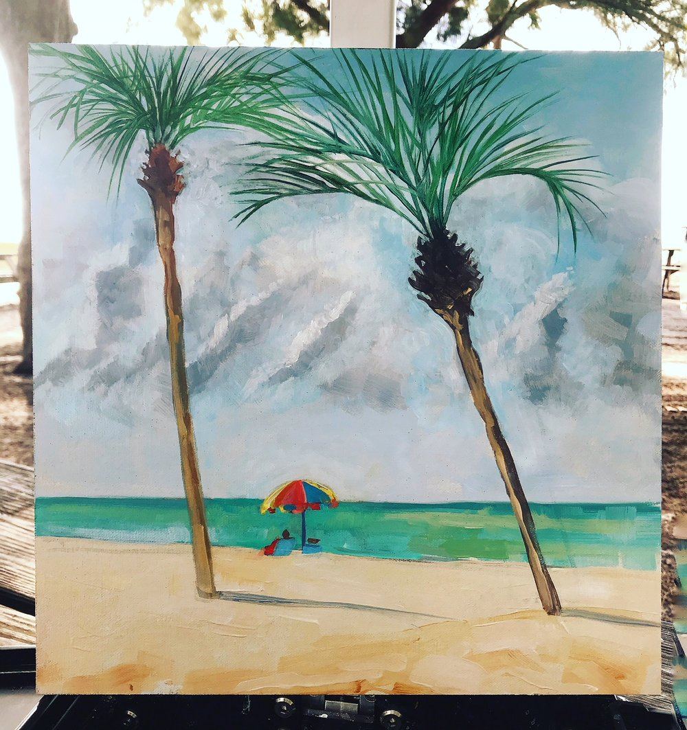 """Coquina Beach, Two Palms"" 12X12"", archival canvas on board"