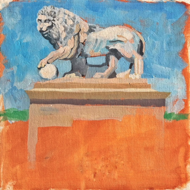 "12 X 12"", Carrera Marble Lion on the Bridge of Lions, St. Augustine, Florida"