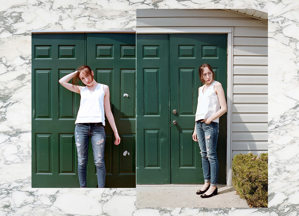 Top: Madewell / Jeans: American Eagle / Shoes: Isaac Mizrahi