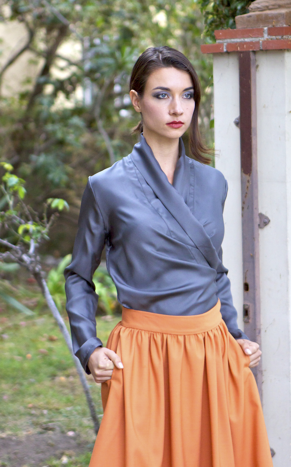Kimono Style Wrap Blouse in Silk & Dirndl Skirt with Pockets