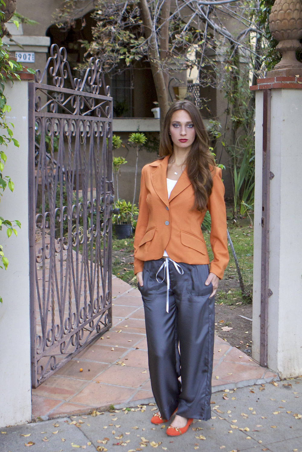 Fitted Blazer & Silk Drawstring Pant