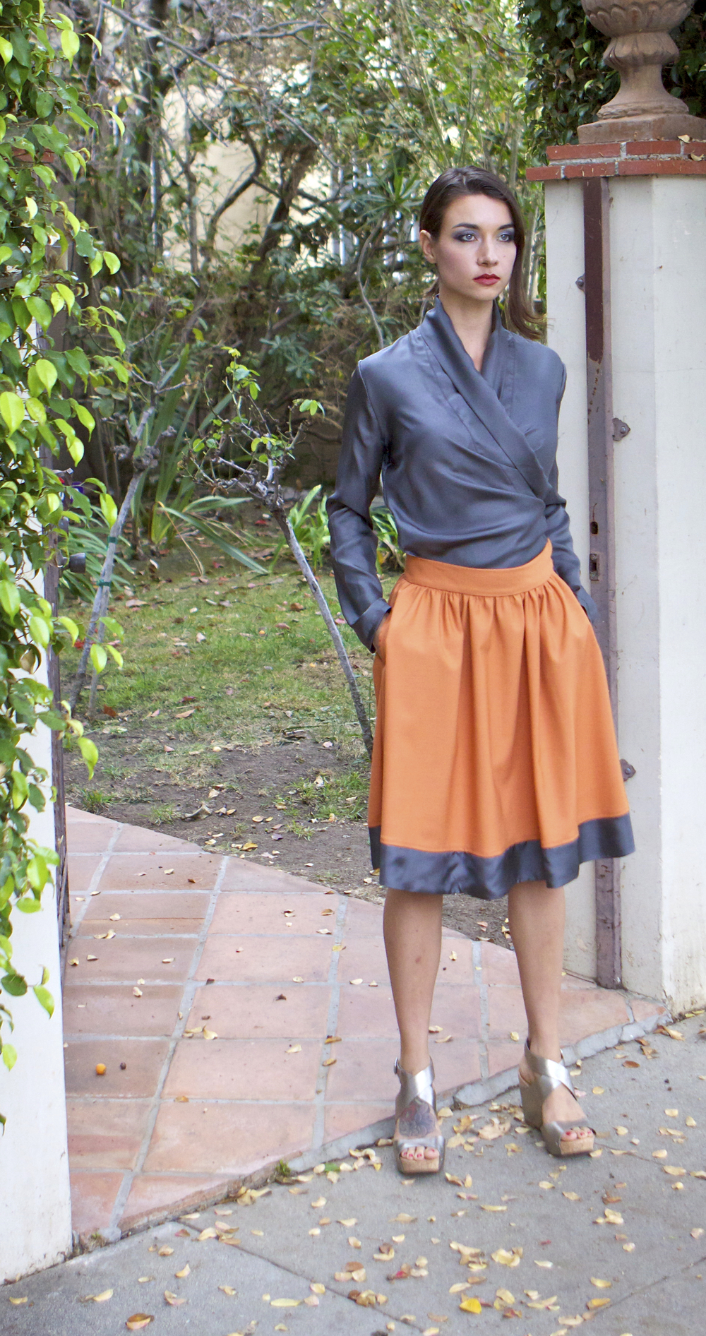 Silk Wrap Blouse & Full Skirt with Pockets