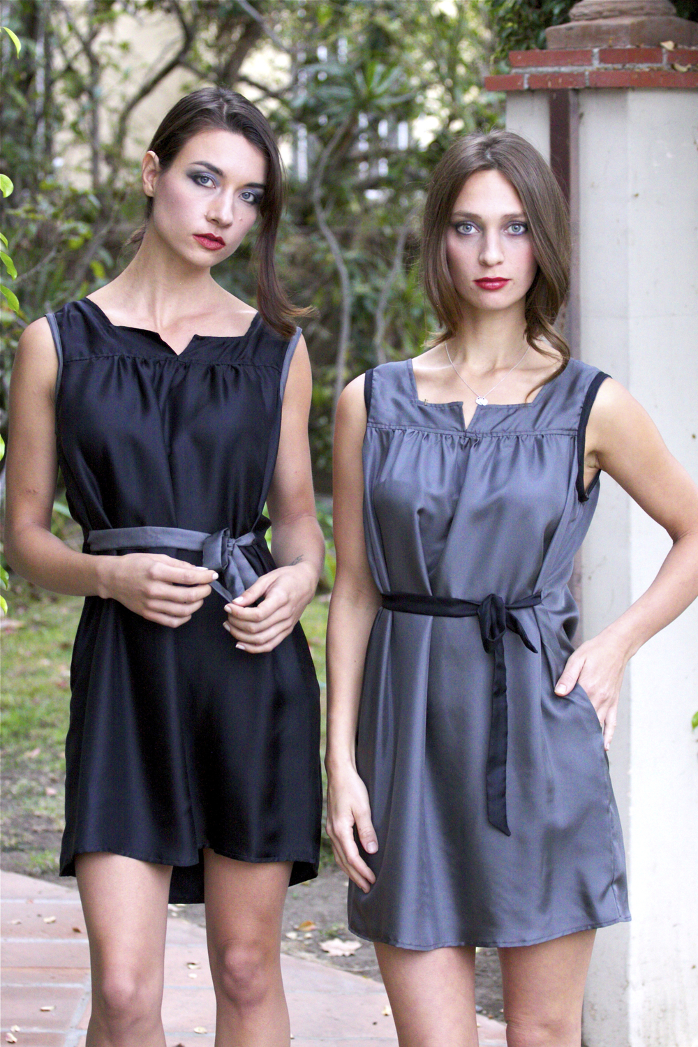Black Mini Dress & Gray Mini Dress in Silk
