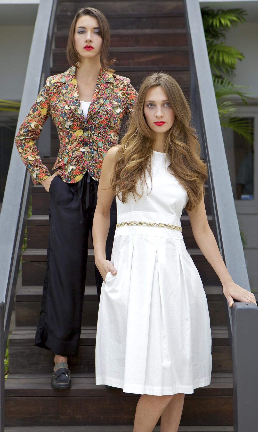 Liberty Blazer and White Cotton Dress with Beading