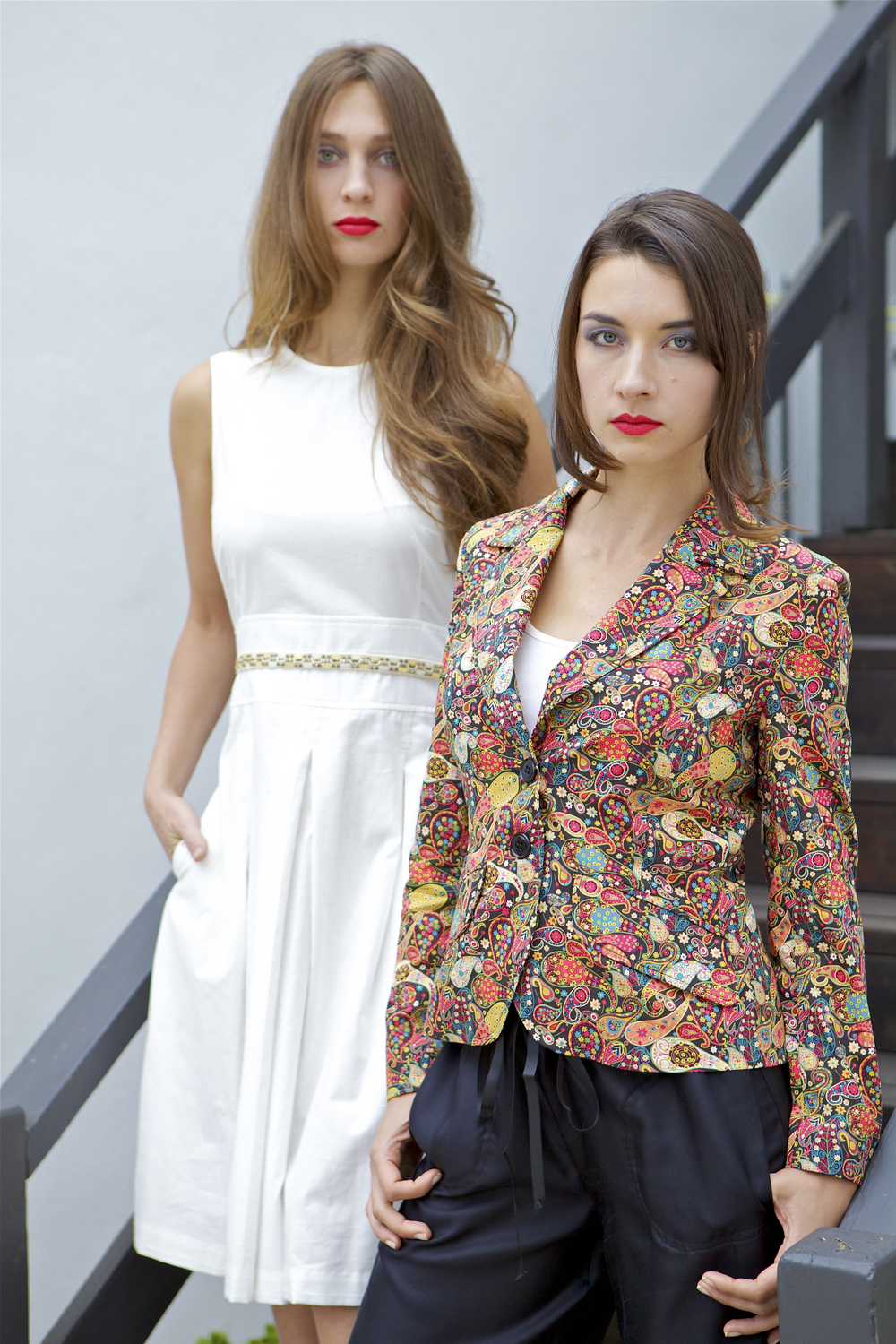 White Midi Dress & Liberty Print Paisley Blazer