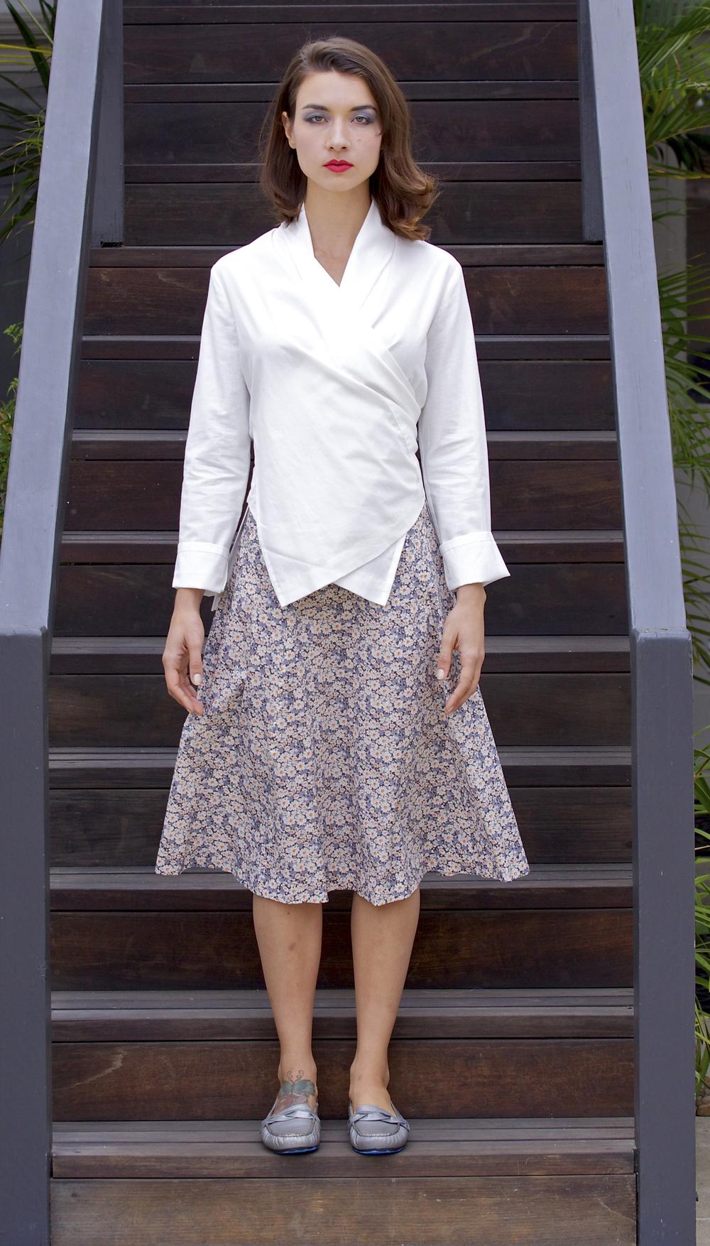 White Cotton Wrap Shirt, Liberty Swing Skirt
