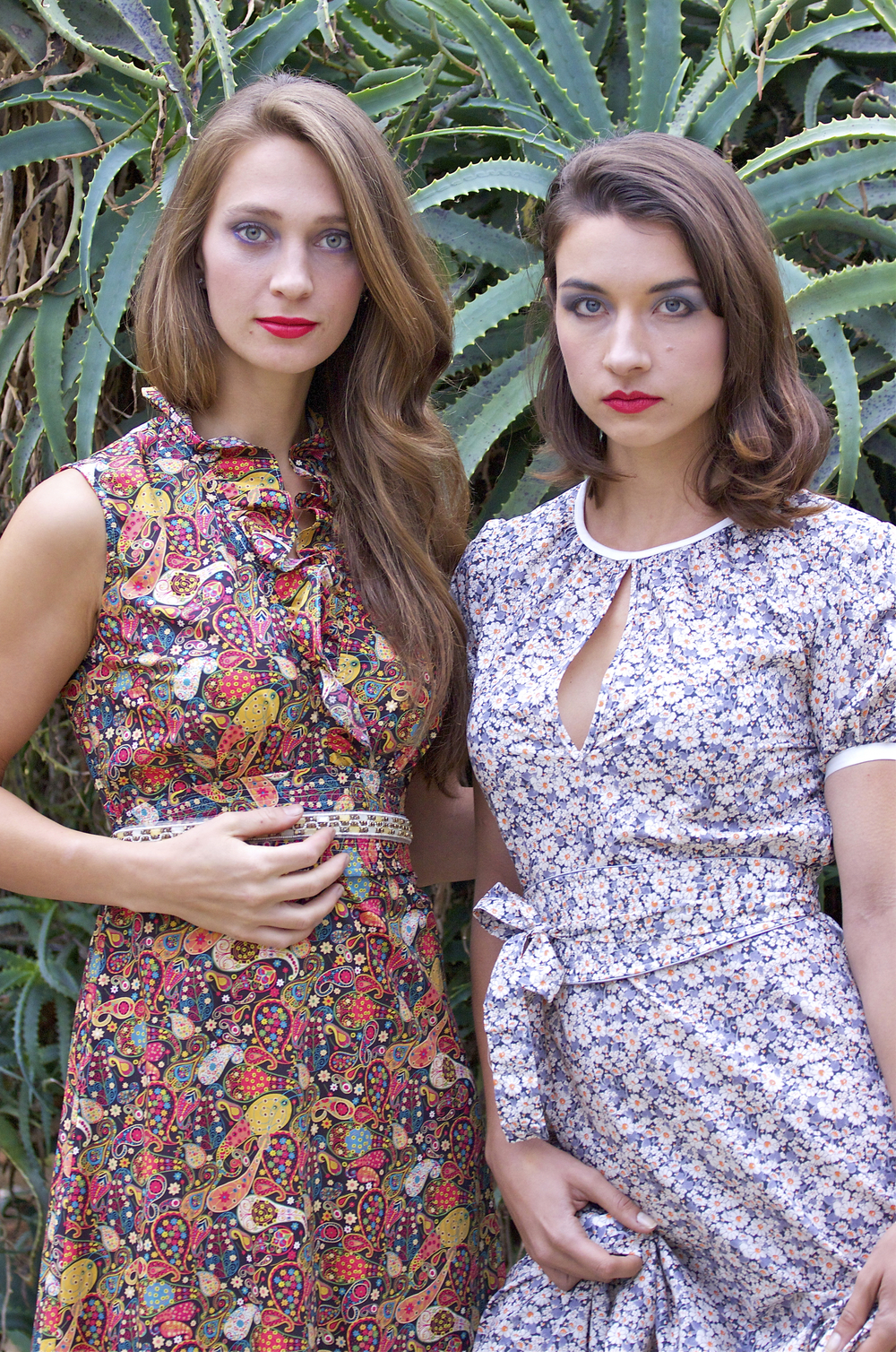 Cotton Print Belted Maxi Dresses
