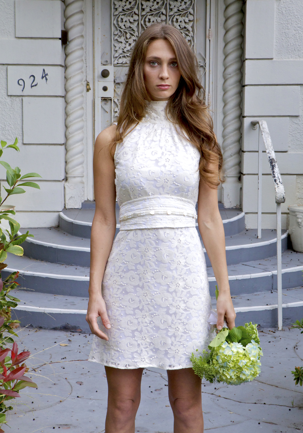 Lace Bridal mini dress with beaded obi belt.