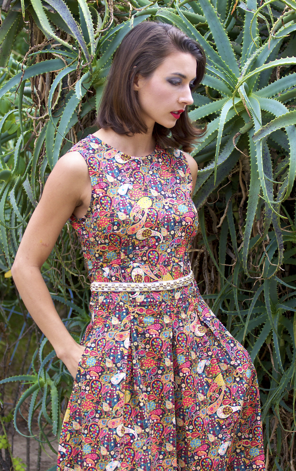 Cotton Printed Dress with Beading