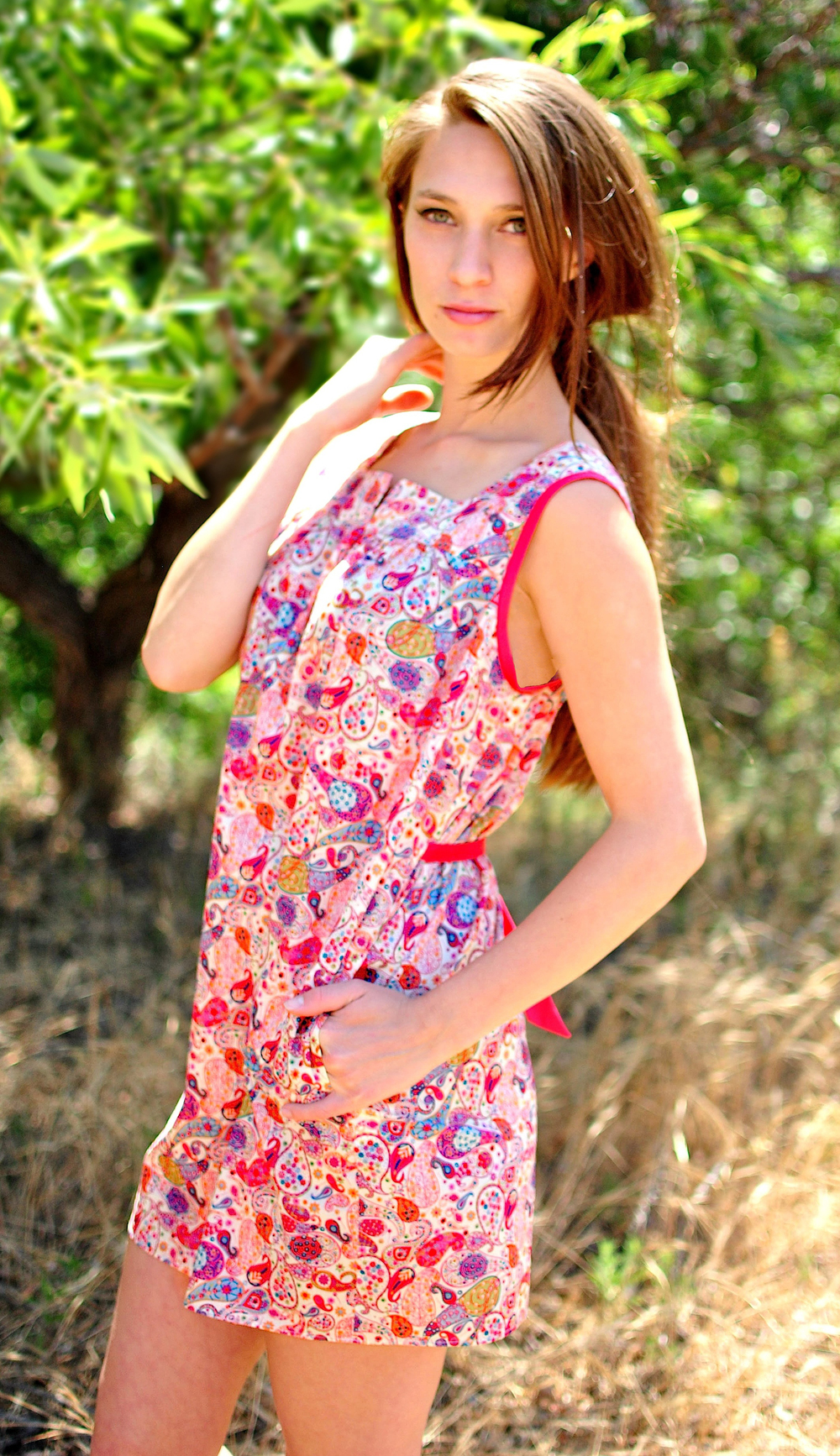 Liberty paisley mini dress with pockets.