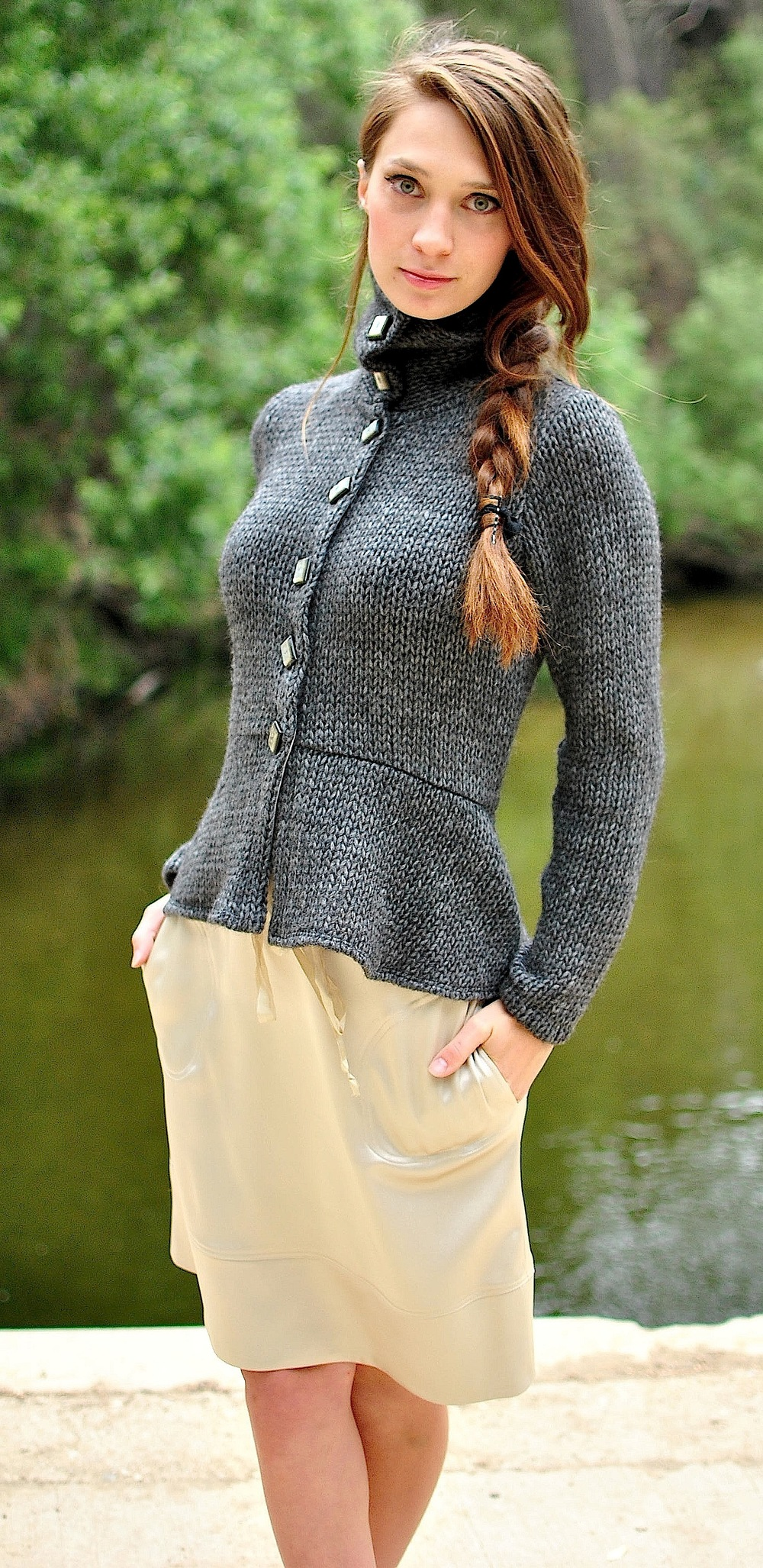 Button up gray wool sweater.