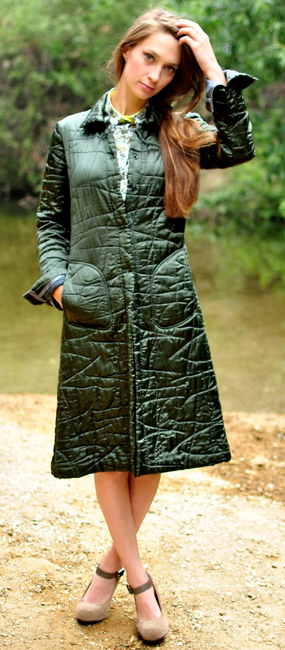 #120B Green Satin Quilted Car-Coat, Jersey on the Inside