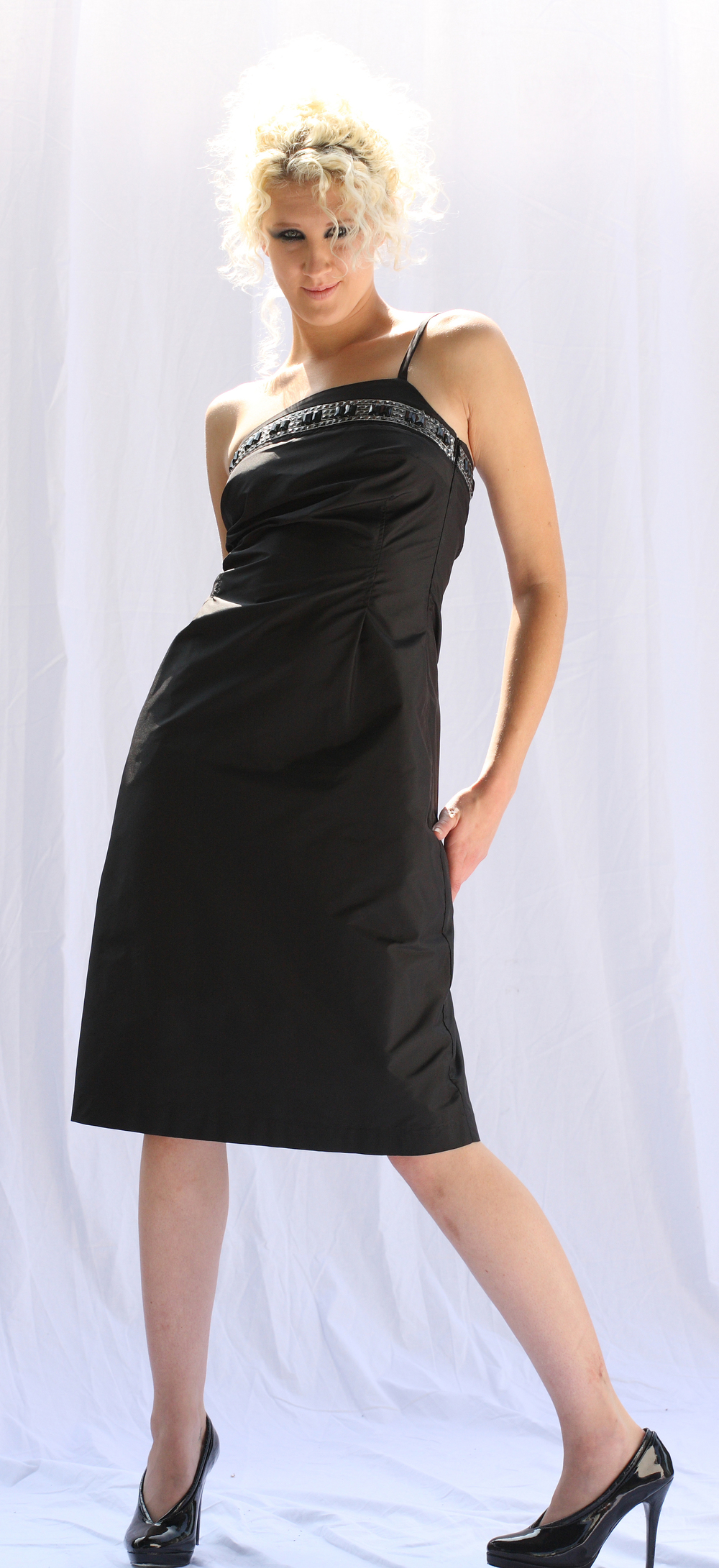 Asymetric Single-Strap Bodice Dress w/ Beaded Trim in Silk Taffetta