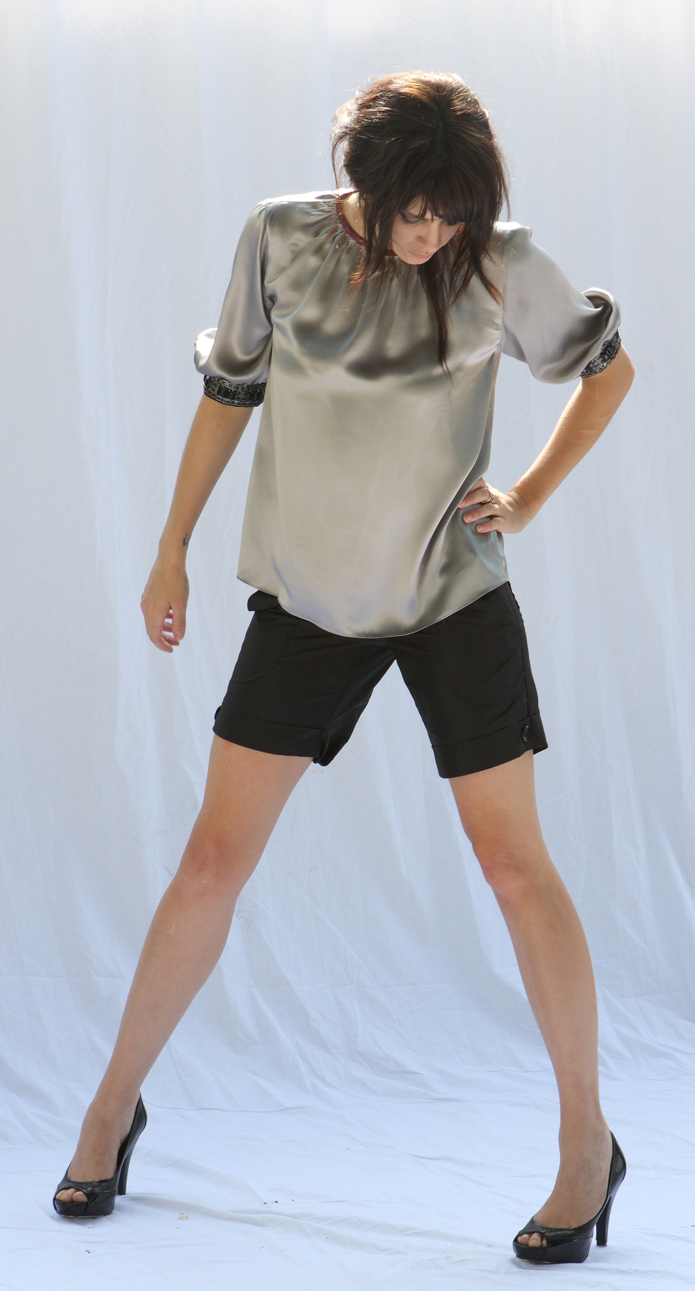 Sheath Blouse w/ Beaded Cuffs in Silver Silk Charmeuse  quilt Waist Cuffed Short In Silk Taffetta