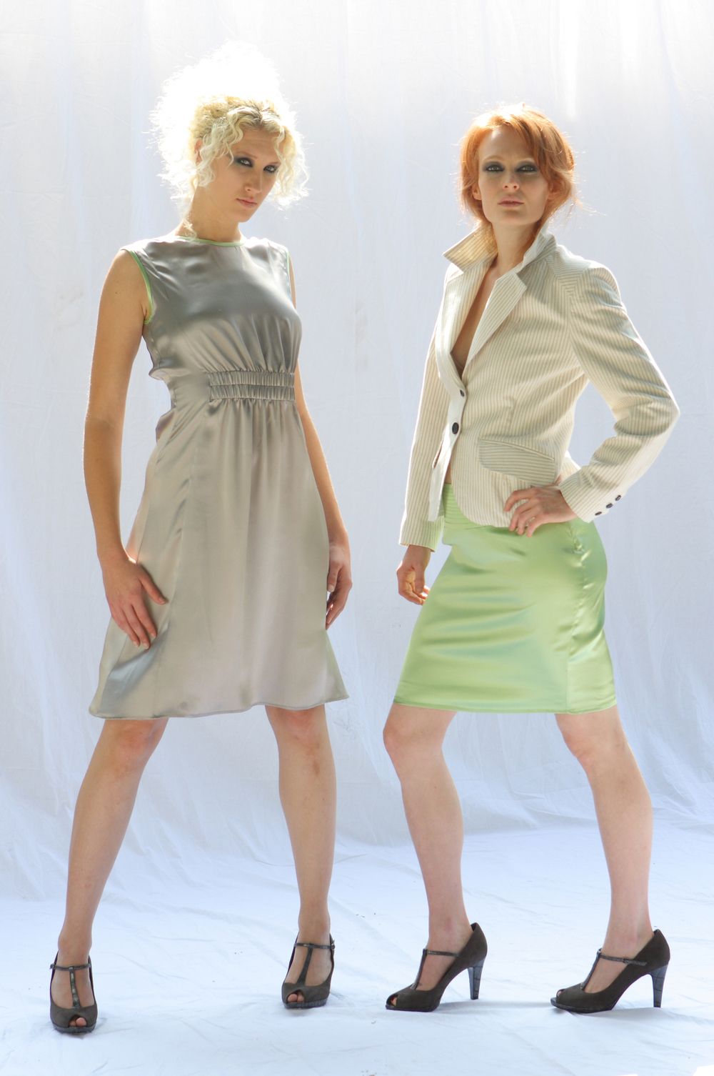 Shirred Waist Sheath Dress in Silver Silk Charmeuse.  Shrunken Blazer in Pinstriped Italian Cotton Twill.   Quilt Waist Mini Skirt in Lime Silk Charmeuse.