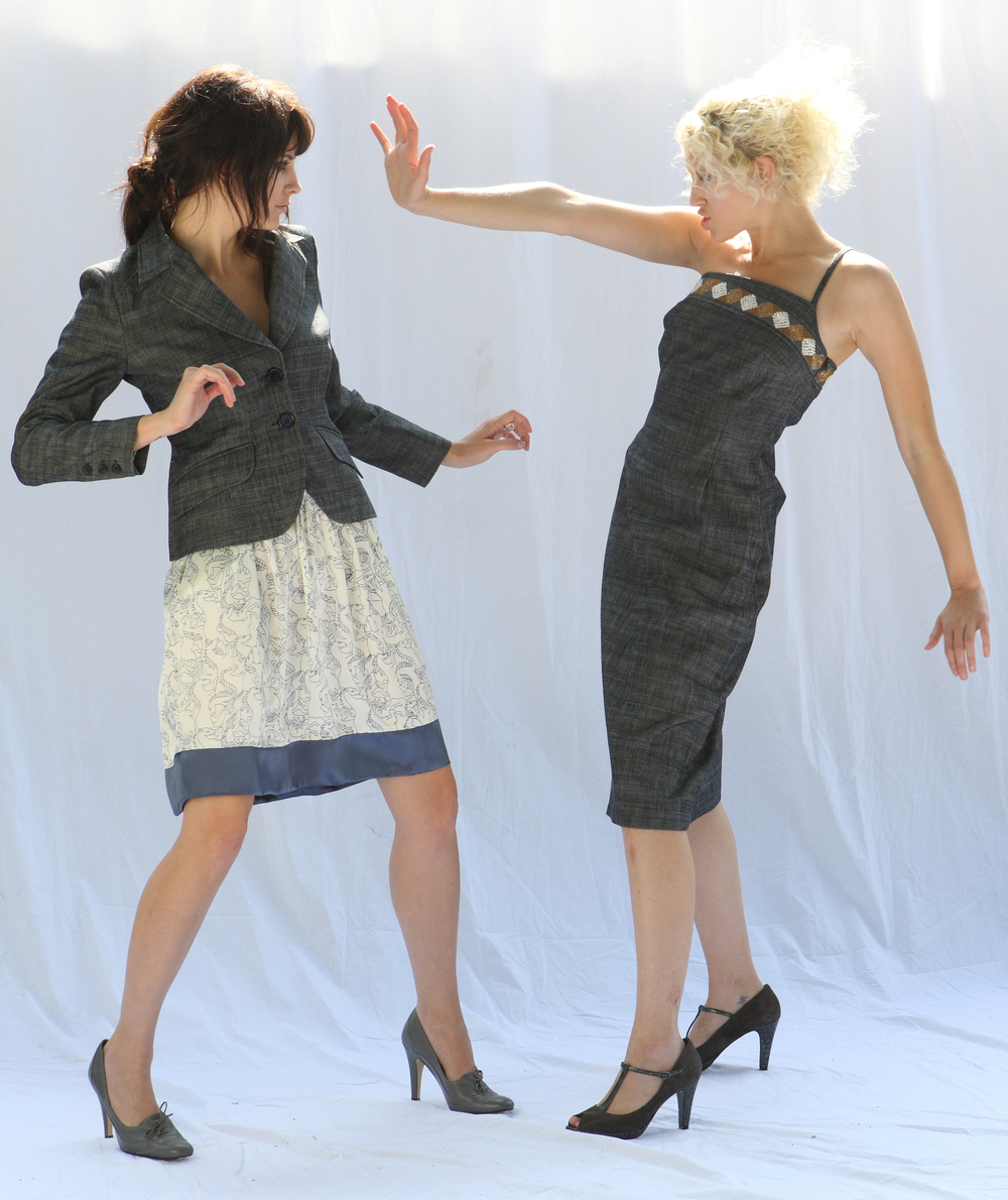 Shrunken Blazer in Italian Charcol Stetch Denim.  Quilt Waist Full Skirt w/ Pockets in Horse Print Silk Charmeuse.  On right:  Asymetric Single Strap Bodice Dress in Italian Charcol Stretch Denim w/ Beaded Top Band.