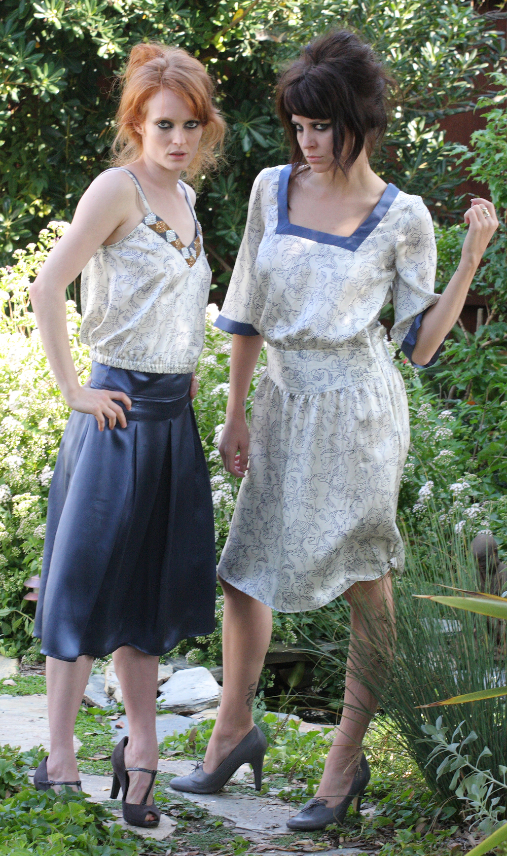 Double Strap V-Cami in Horse Print Silk Charmeuse w/ Beaded Trim  High Waist Pleat Skirt w/ Pocket in Blue Silk Charmeuse  Quilt Waist Square Neck Dress in Horse Print Silk Charmeuse