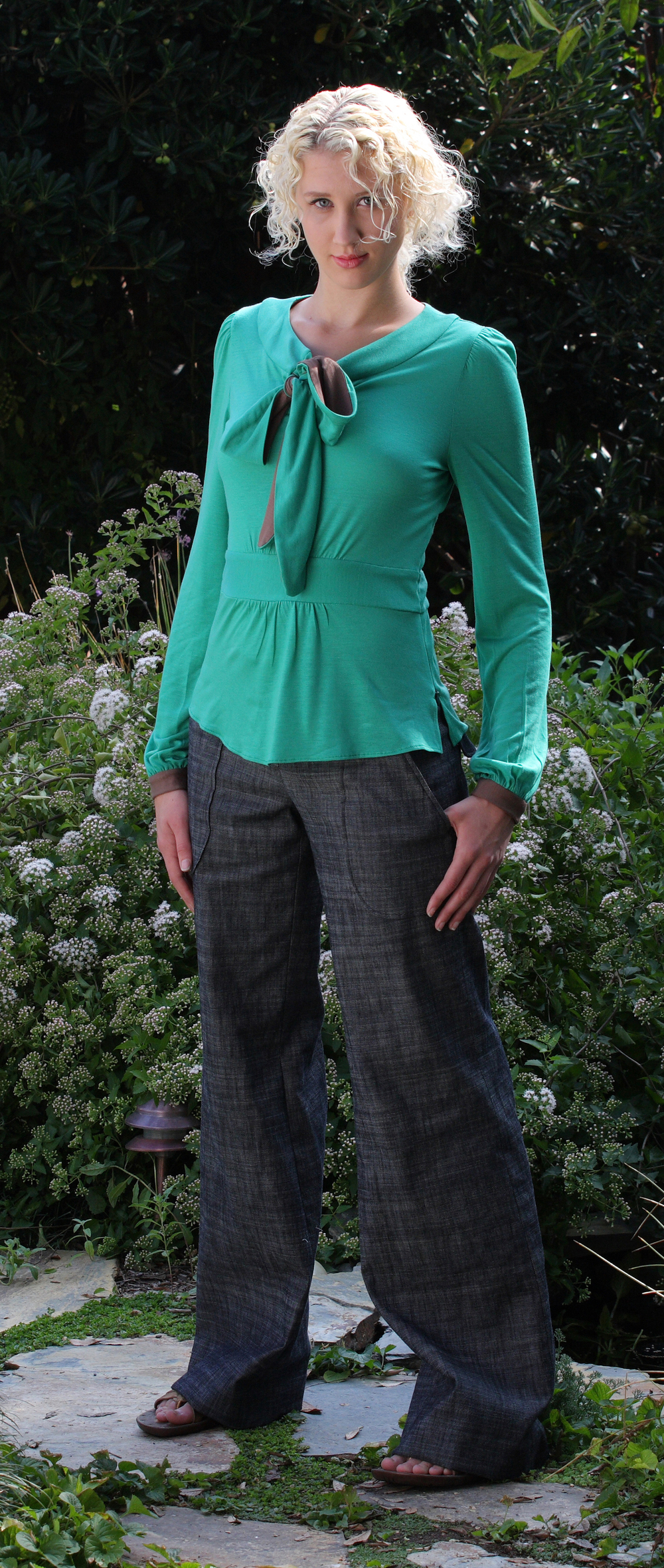 Scarf Neck Blouse in Emerald Butter Jersey  Wide Leg G.A. Pants in Charcoal Stretch Denim