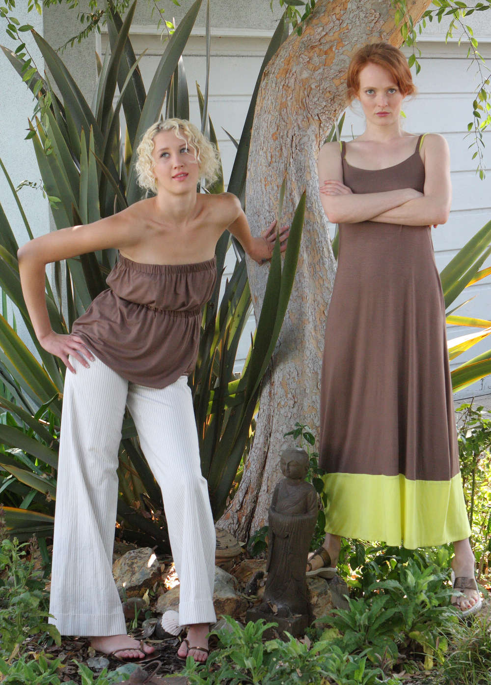 Strapless Pull-On Reverible Top in Mocha Butter Jersey  Wide Leg Sailor Pant  in Pinstriped Cotton Twill  Empire Double Strap Long Tank Dress w/ Pockets in Mocha / Yellow Butter Jersey