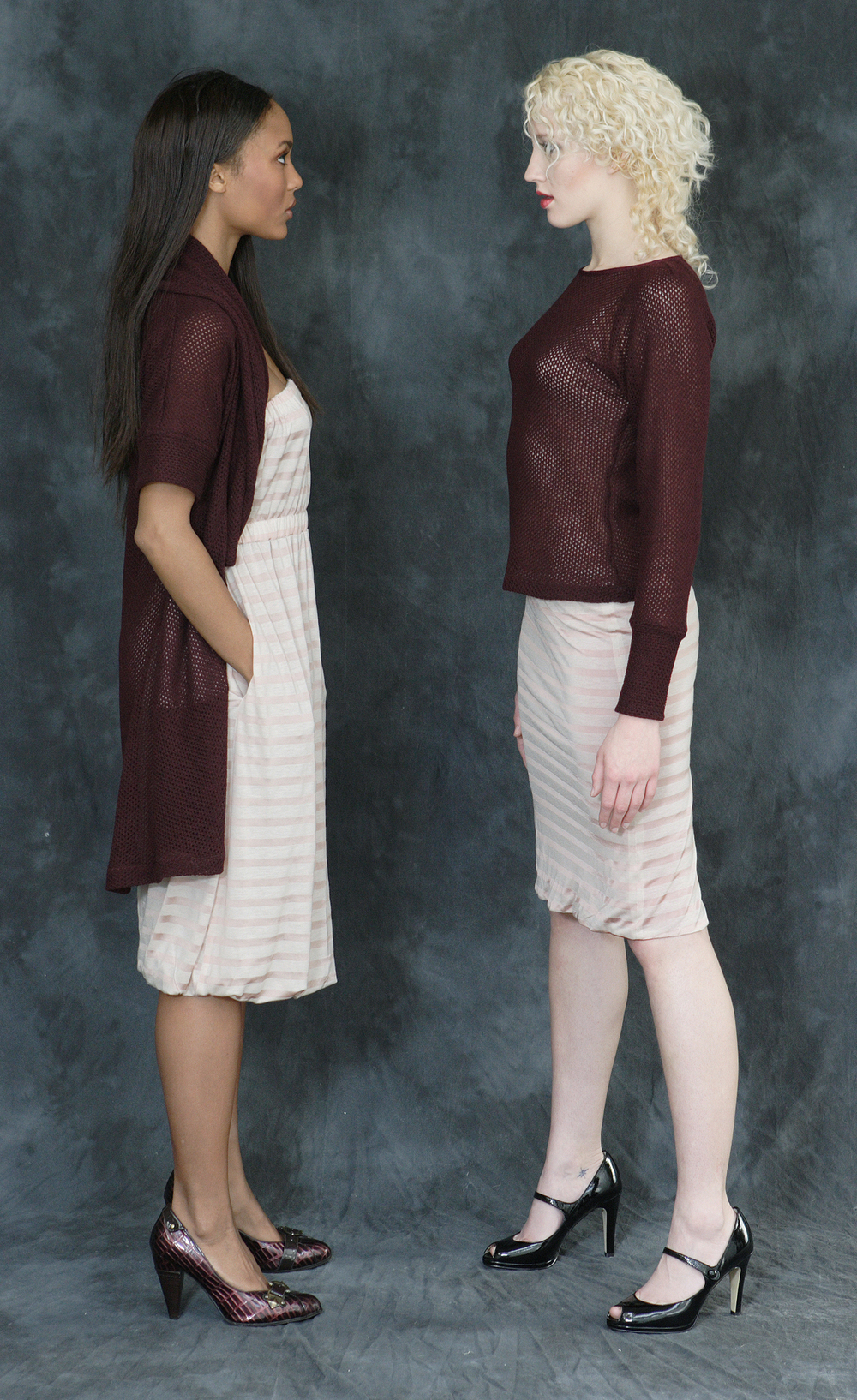 "Wool Cashmere Shawl Sweater  Strapless, Layered Pull-On ""Cali-Dress""     Raglan Sweater                                                        Reversible Jersey Tube Skirt."