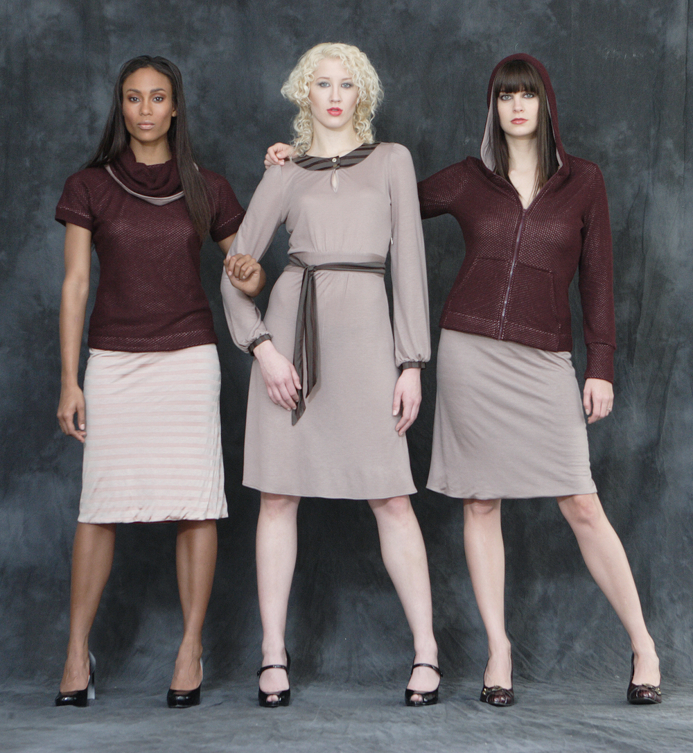 From left to right:   Roll Neck Sweater Lined in Jesey     Jersey Marilyn Dress                                   Wool Cashmere Zip Hood Sweater Lined in Jersey.  Reversible Jersey Tube Skirt.