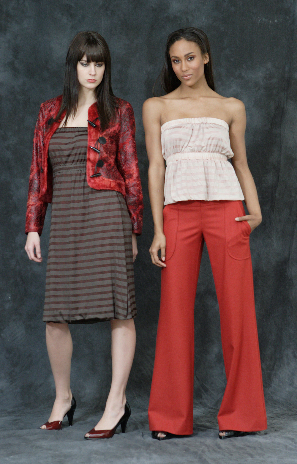 "Snake Bite Toggle Jacket.  Strapless, Layered Pull-On ""Cali-Dress"".   On right:   Strapless Layered Pull on Cali Dress.                                                        Stretch Wool Flannel Wide Leg Trouser.     ."