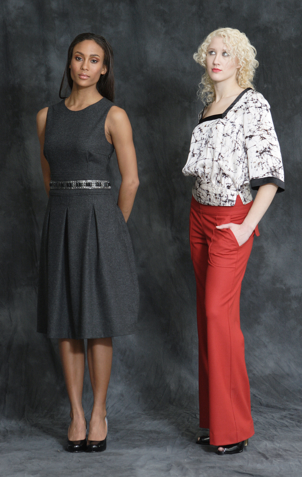 Wool Flannel High Waist Pleat Dress w/ Jeweled Trim  Web Print Silk Charmeuse Square Cut Blouse w/ Quilt Stitch Waist  Stretch Flannel Wide Leg Trouser w/ Quilt Stitch Waist.