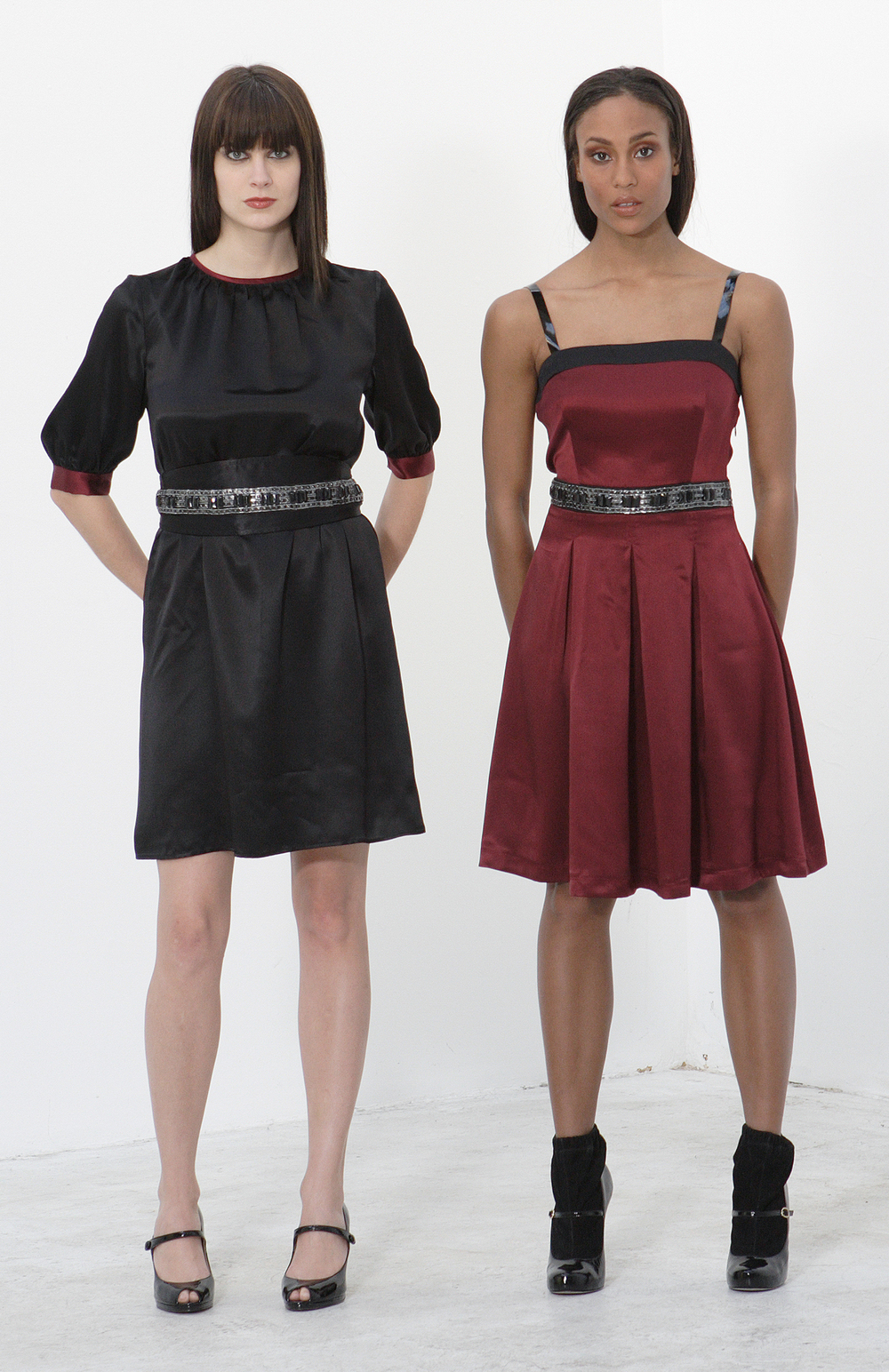 Silk Charmeuse Pleat Cami Sheath Dress w/ Jeweled Obi Belt    Silk Charmeuse Pleat Cami Dress w/ Patent Straps & Jeweled Waist.