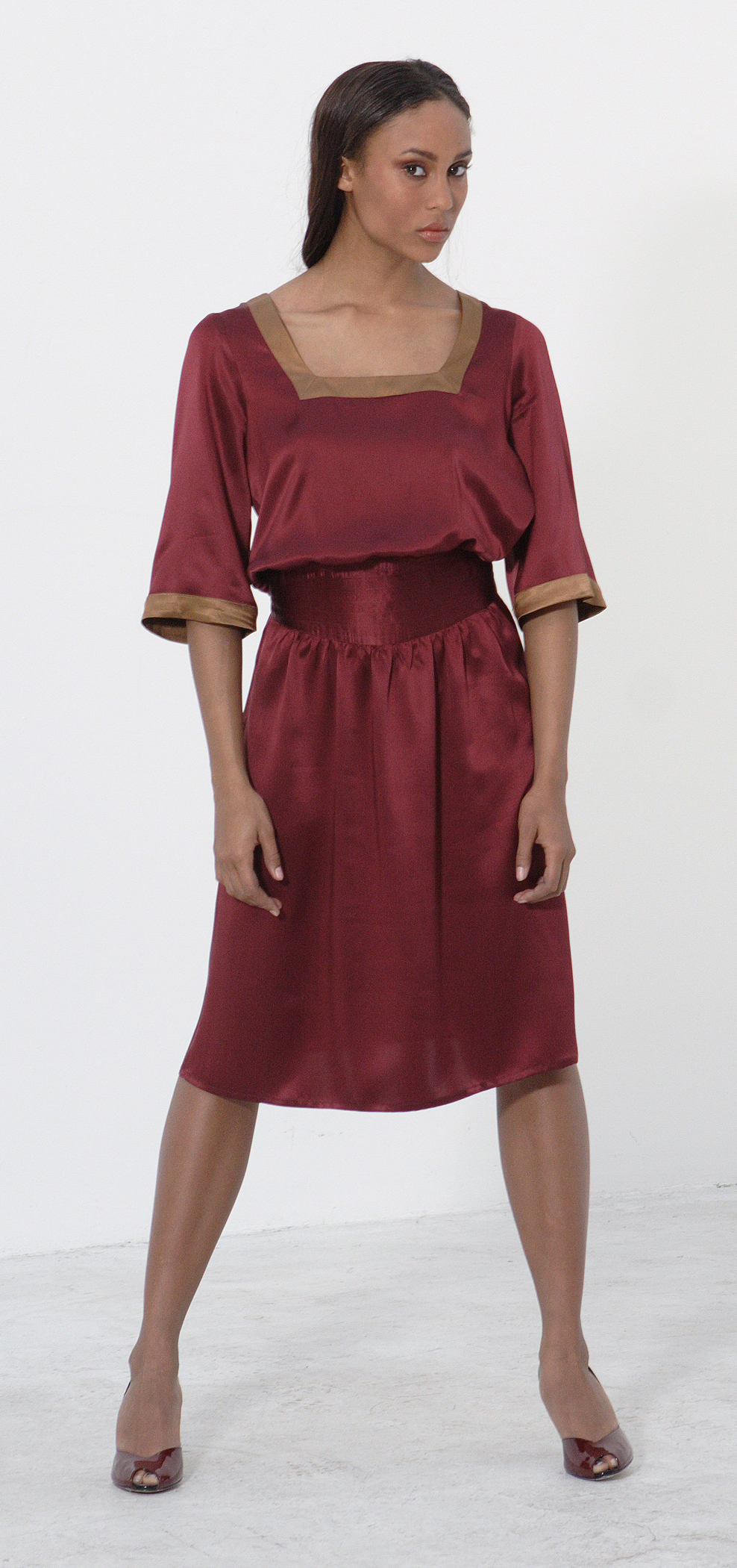 Silk Charmeuse Square Cut Dress w/ Quilt Stitch Waist.