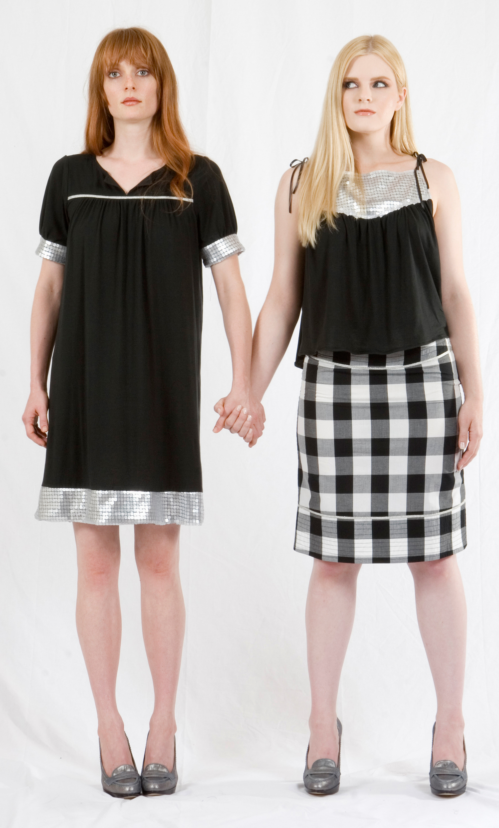 Edie Dress in Black Jersey w/ Silver Sequined Hem & Sleeve Bands & Metalic Trim.   On the right:   Triangle Top in Black Jersey w/ Silver Sequined Yoke & Faux Leather Ties.  Banded Pencil Skirt in Cotton Gingham w/ Metallic Trim.