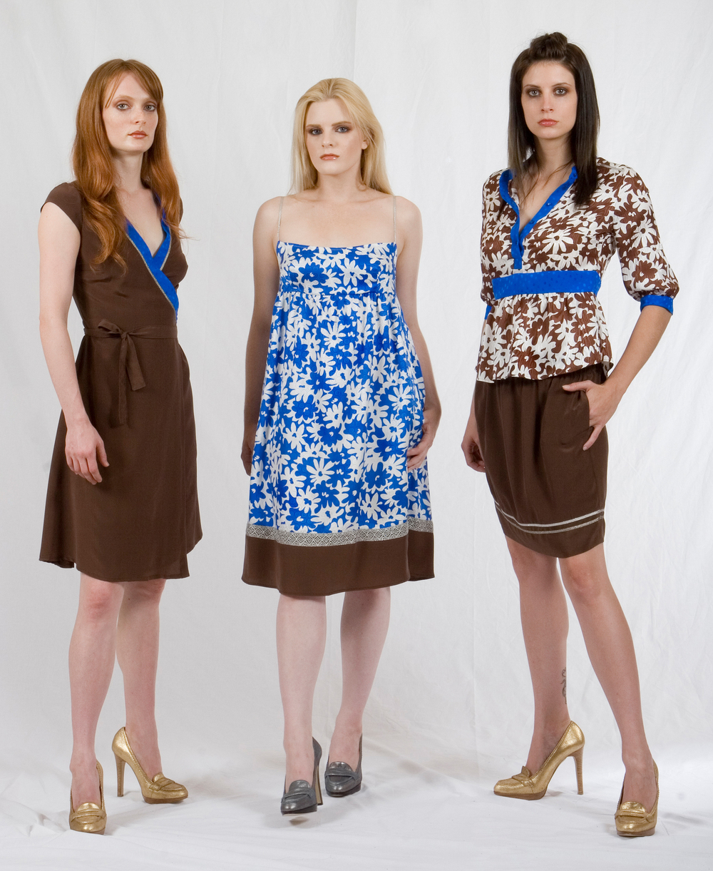 Wrap Dress in Silk  Crepe 7 Dotted Jaquard w/ Metallic Lace Trim  Cami Dress in Printed Silk Jaquard & Crepe w/ Metallic Lace Trim.  Tunic Shirt in Printed & Dotted Silk jaquard & Crepe-de-chine w/ Metallic Trim  Pull-on Skirt in Silk Crepe-de-chine w/ Metallic Trim / Metallic Lace Trim.