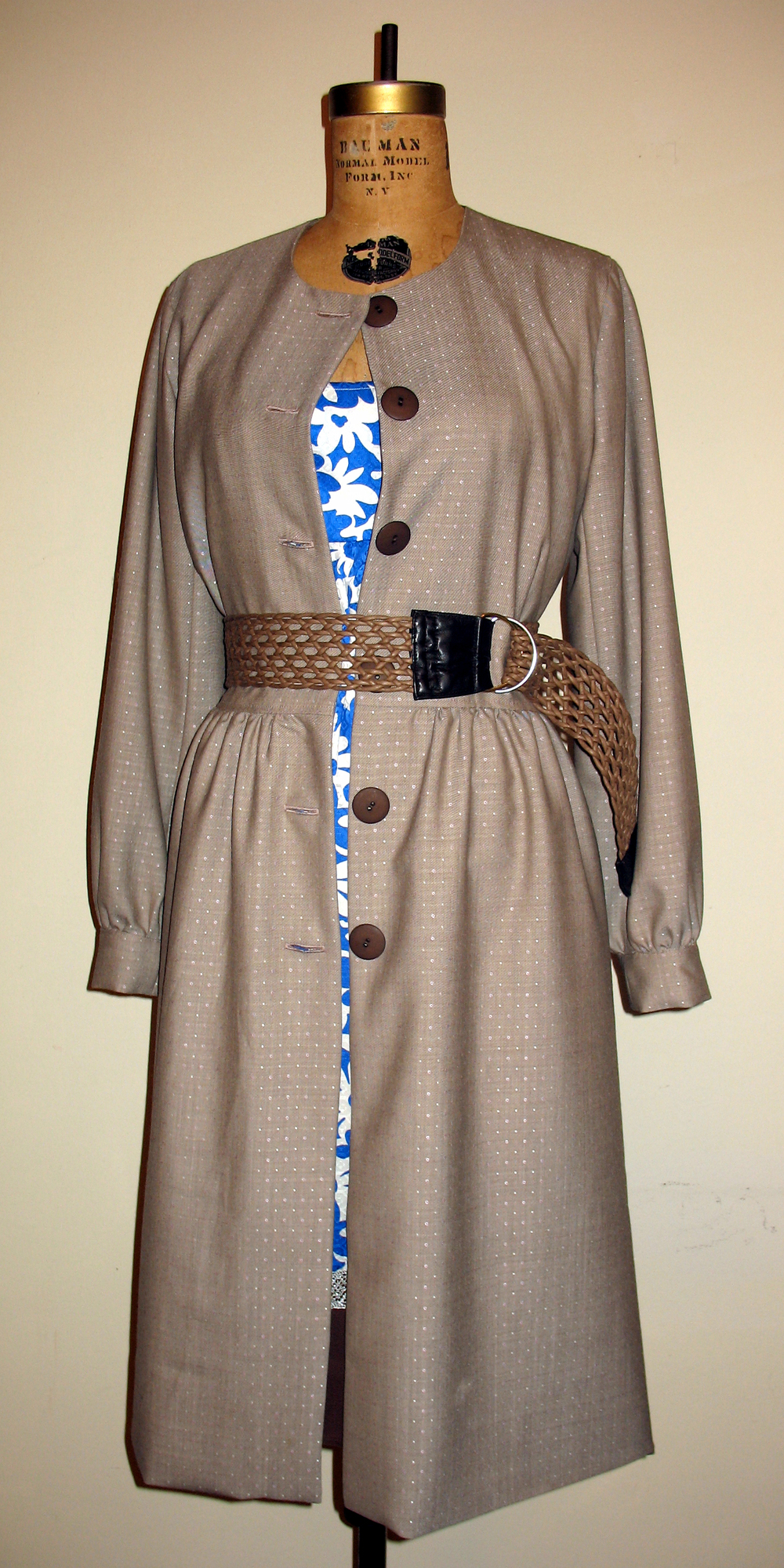 Lined Princess Car Coat in Dotted Jaquard Suiting.