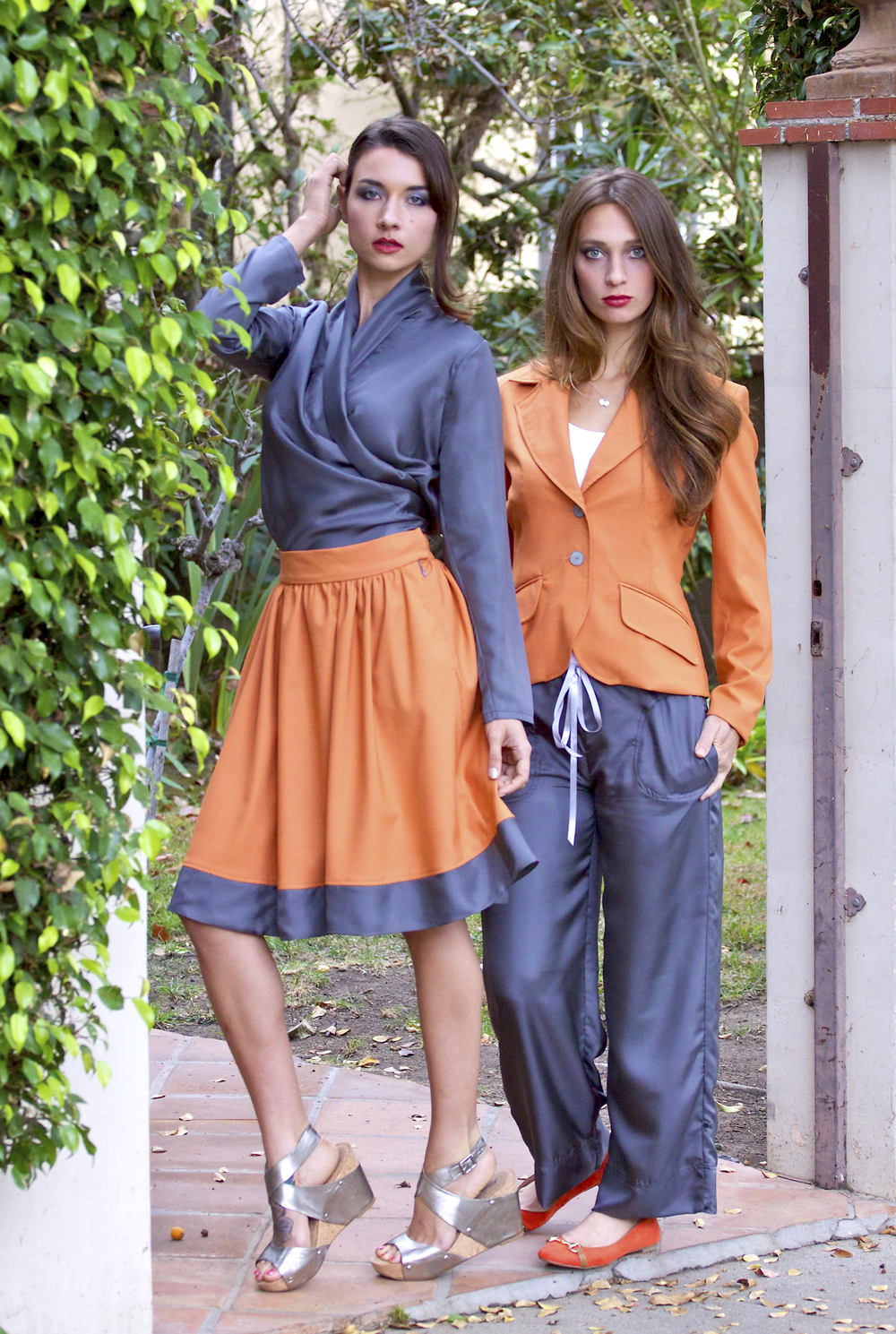 Separates in Orange and Gray