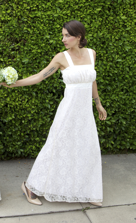 Cortney Palm, by Loren Philip. In kaj ani Bridal Empire Tank Dress in Lace & Satin.