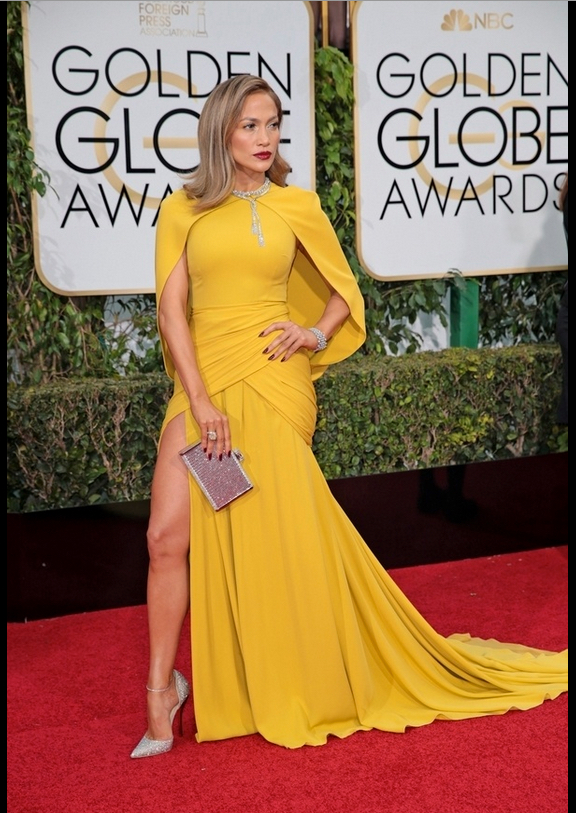 Jennifer Lopez - that chartreuse-yellow gown.