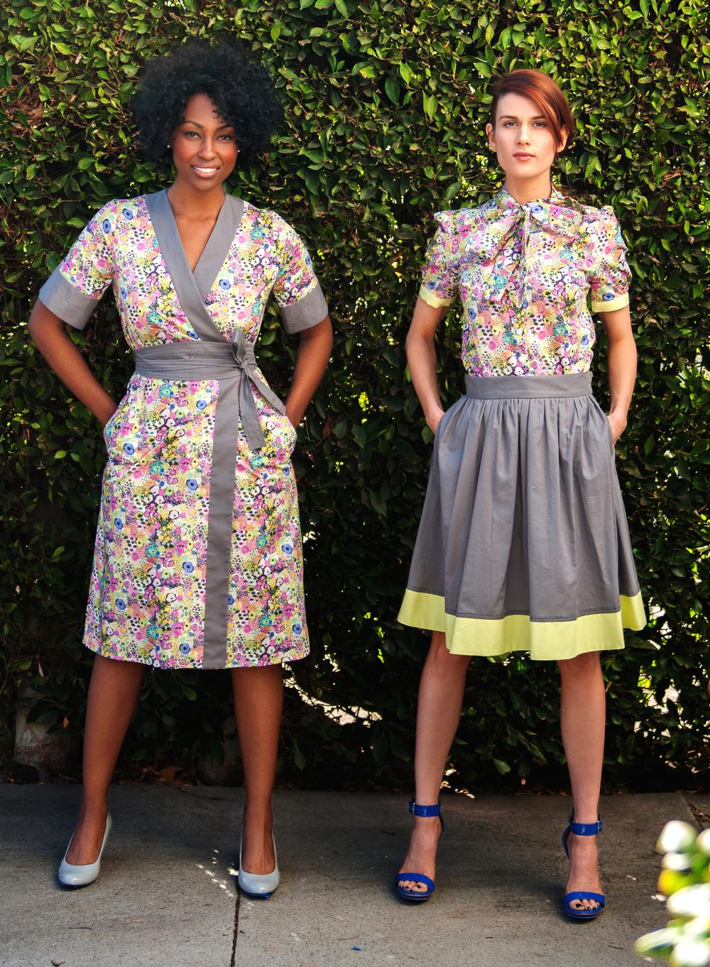 Kimono Dress, Bow-Tied Shirt & Dirndl Skirt