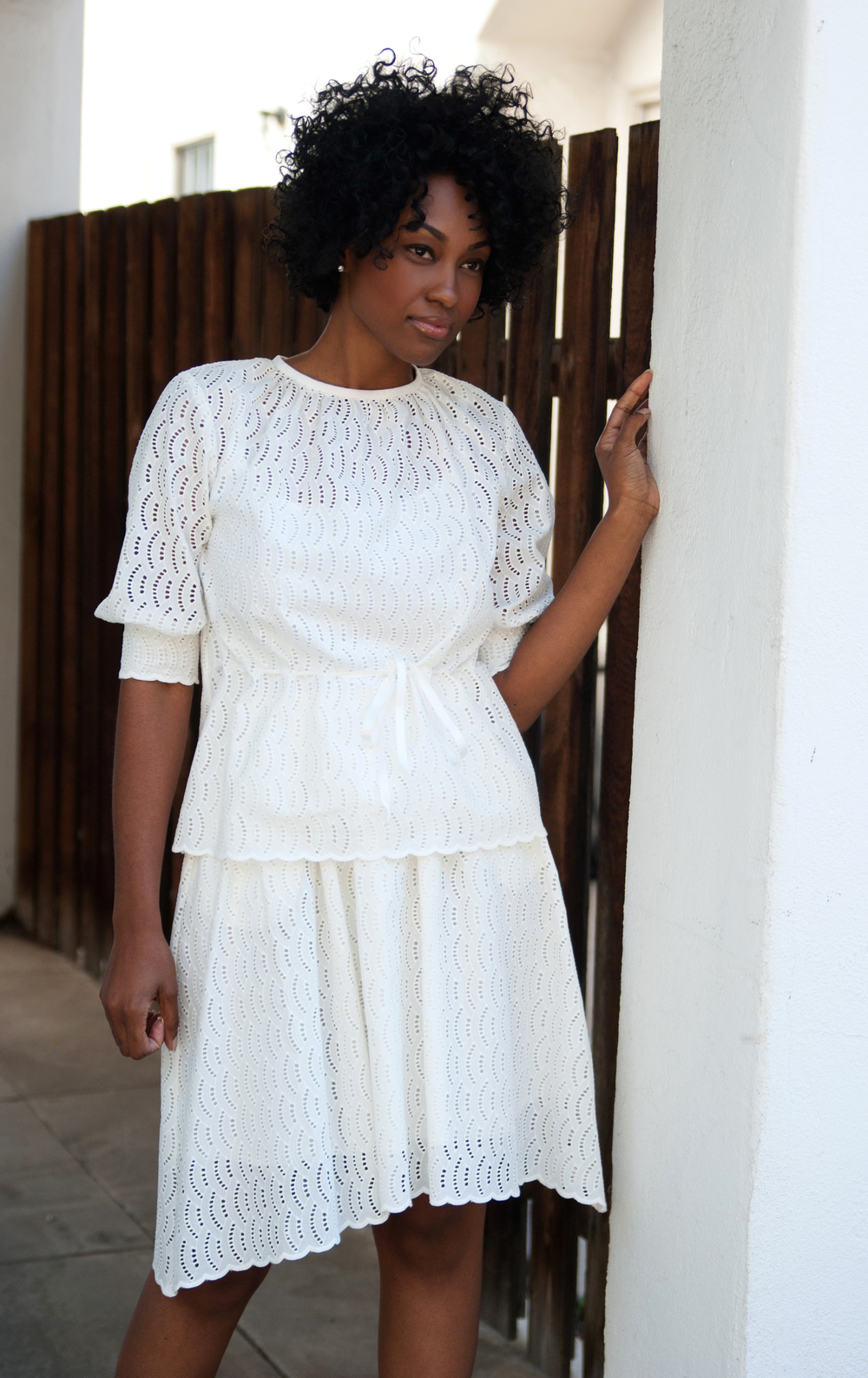 White Blouse & White Skirt In Embroidered Eyelet