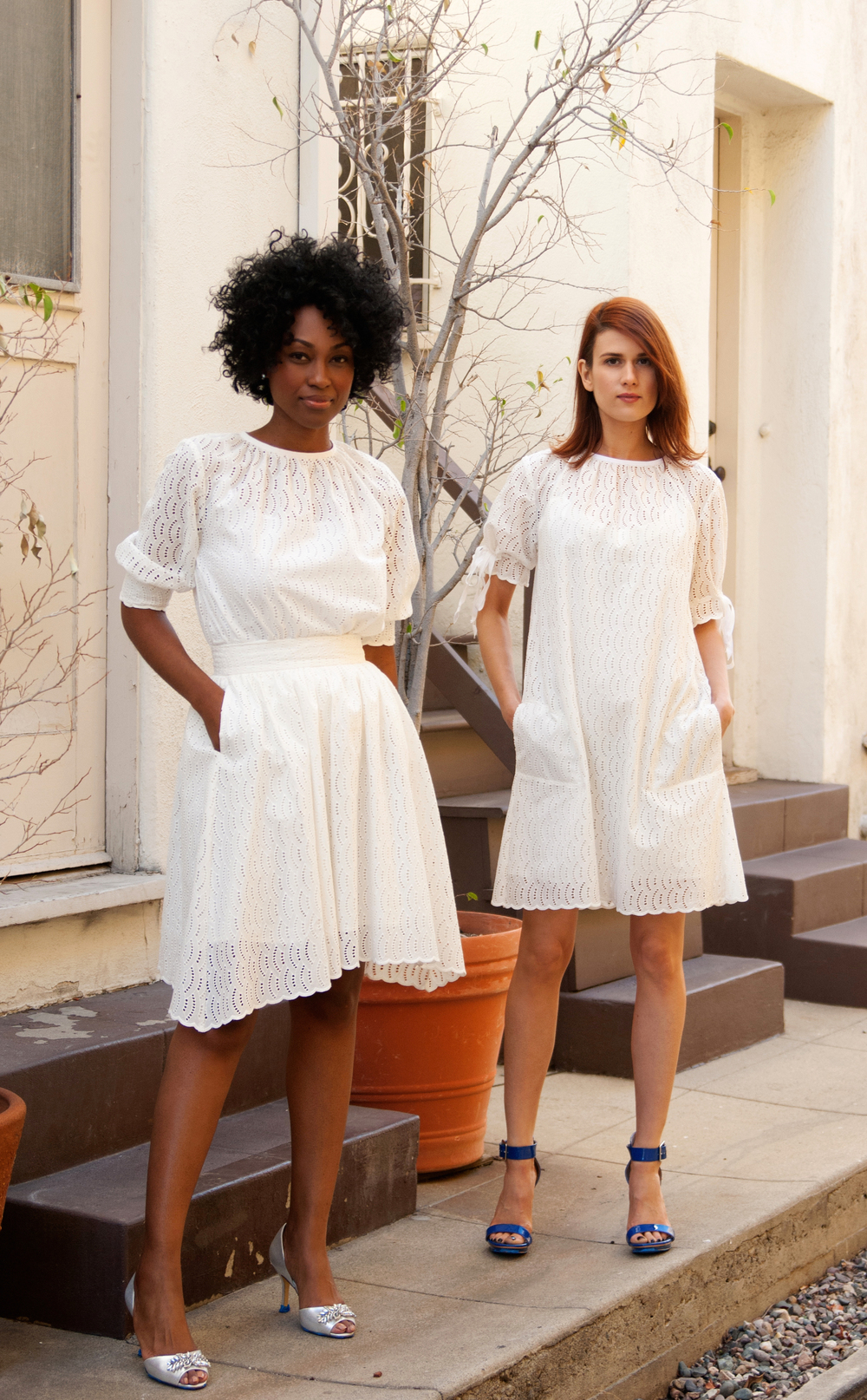 White Blouse & White Skirt & Shift Dress