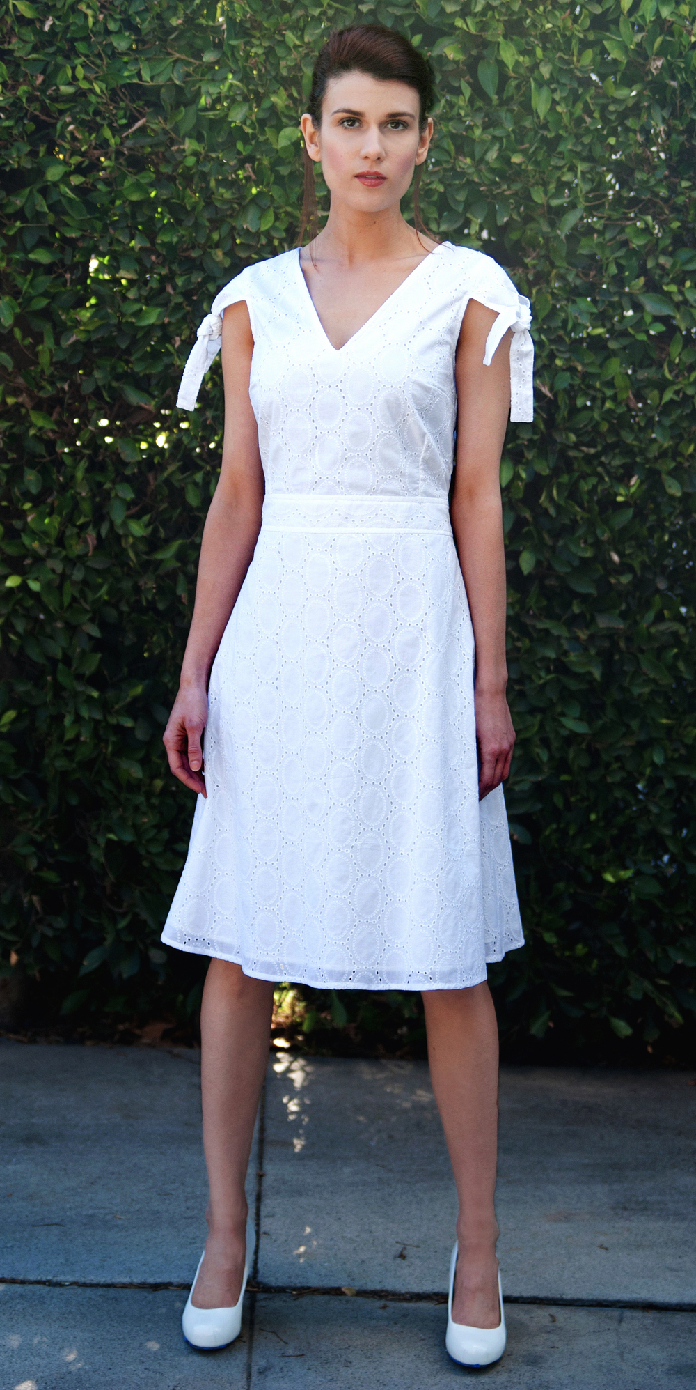 Fit and Flare Dress in White Embroidered Cotton