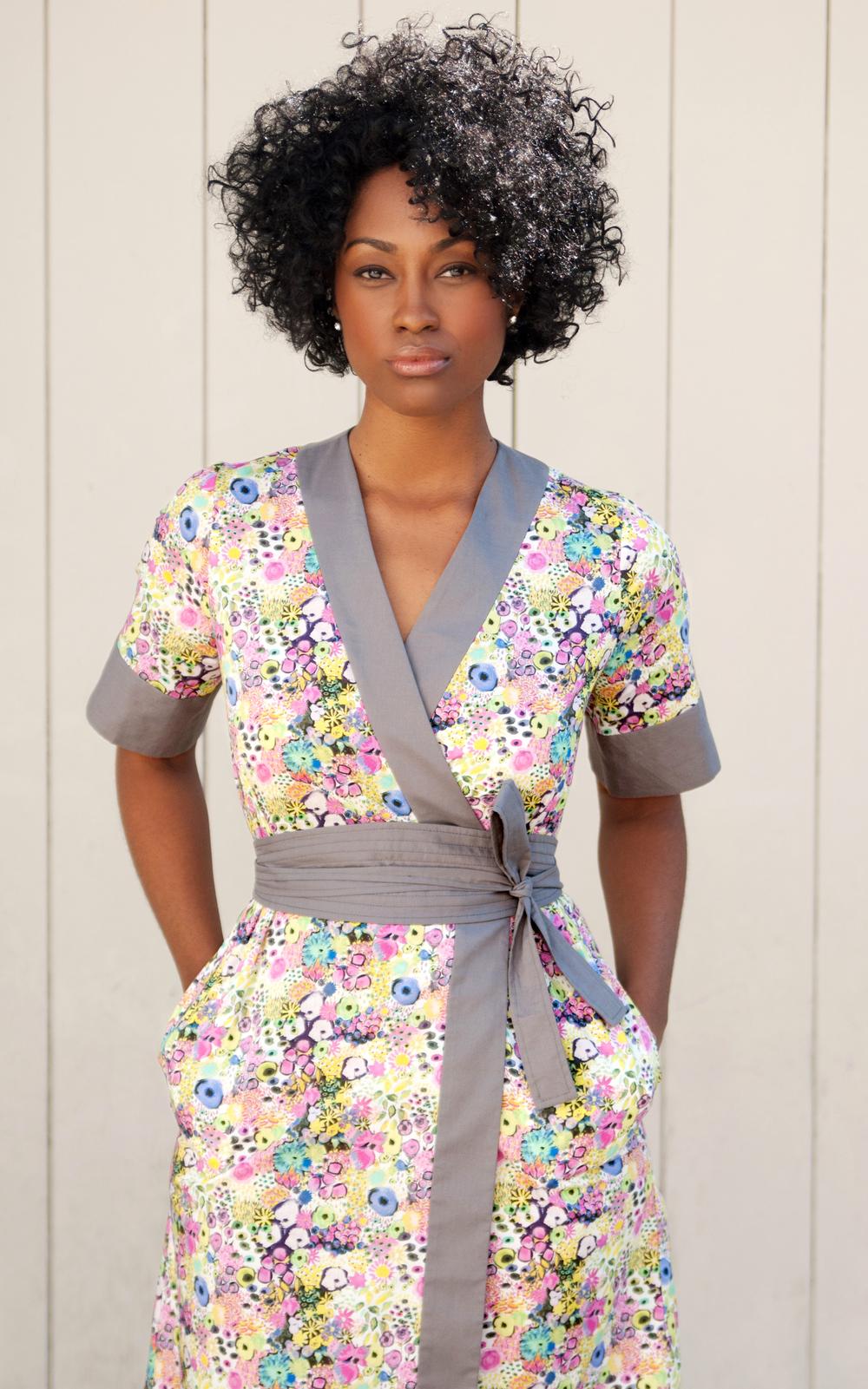 Liberty Print Kimono-Wrap Dress