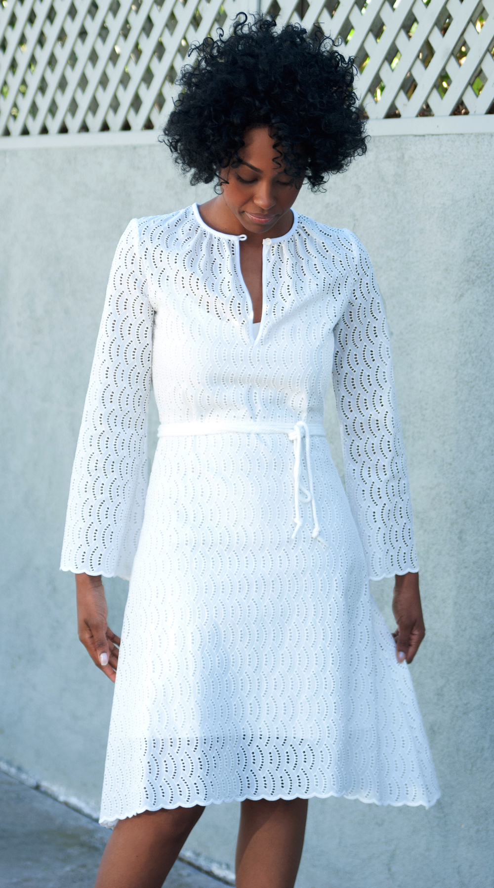 White Midi Dress with Sleeves in Scalloped Eyelet